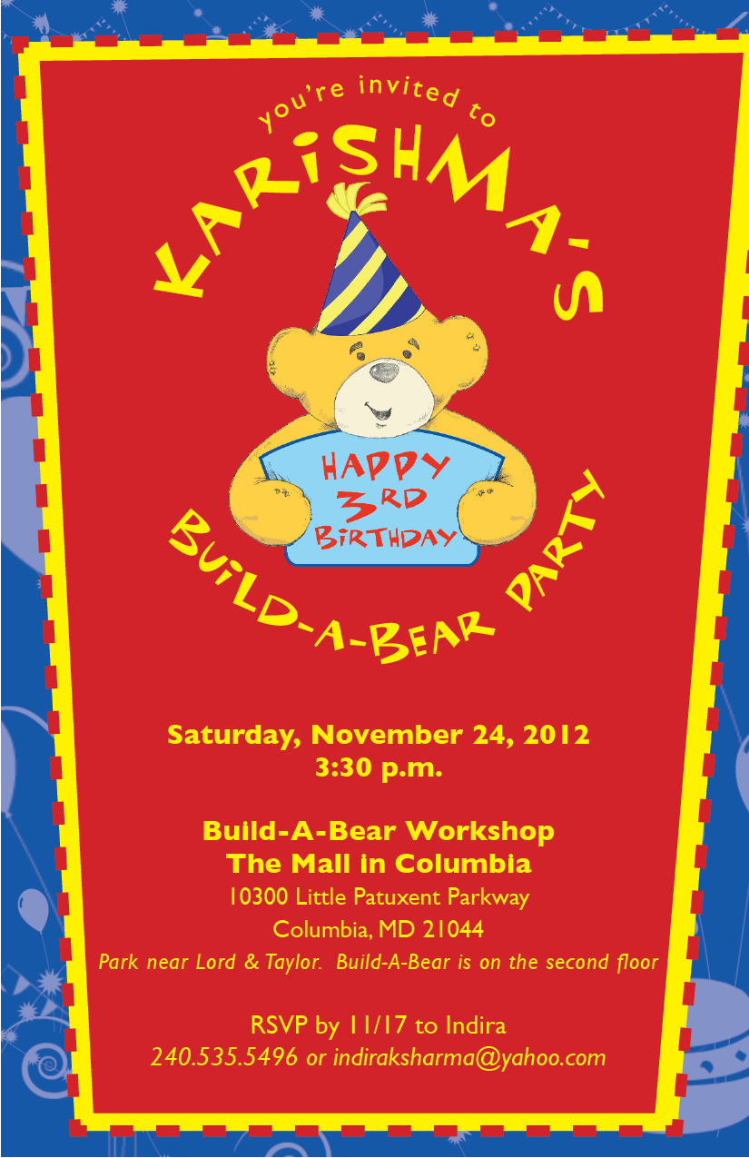 Build A Bear Party Invitations were Beautiful Template To Make Inspirational Invitation Sample